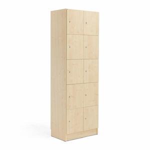 Dřevěné šatní boxy, 2 sekce, 10 boxů, bříza