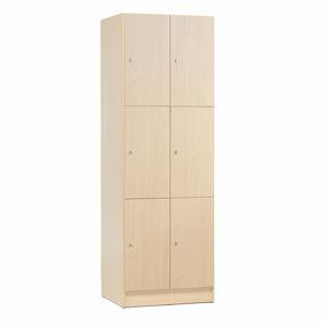 Dřevěné šatní boxy, 2 sekce, 6 boxů, bříza