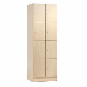 Dřevěné šatní boxy, 2 sekce, 8 boxů, bříza