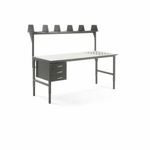Pracovní stůl Cargo, s kuličkami, 2000x750 mm, 3 zásuvky + vrchní police