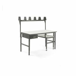 Pracovní stůl s výsuvnou policí, 1600x750 mm, 1 zásuvka + vrchní police