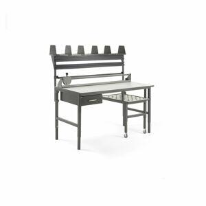 Pracovní stůl Cargo, s výsuvnou policí, 1600x750 mm, 1 zásuvka + příslušenství