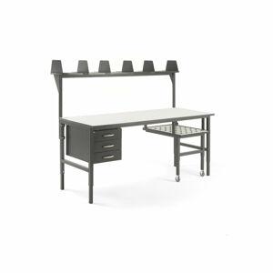 Pracovní stůl Cargo, s výsuvnou policí, 2000x750 mm, 3 zásuvky + vrchní police