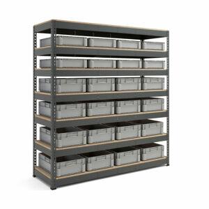 Skladový regál s 24 plastovými přepravkami (8x 21 l a 16x 32 l)