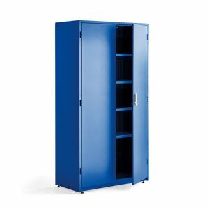 Dílenská kovová skříň, elektronický zámek, 1900x1020x500 mm, modrá