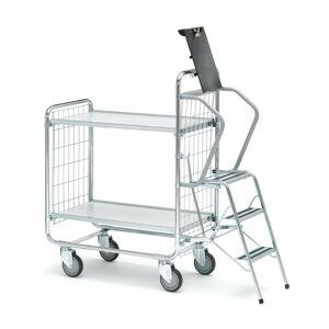 Policový vozík se schůdky, 750x425 mm