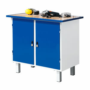 Dílenský pracovní stůl, pevné nohy, 2 skříňky, 900x595x990 mm