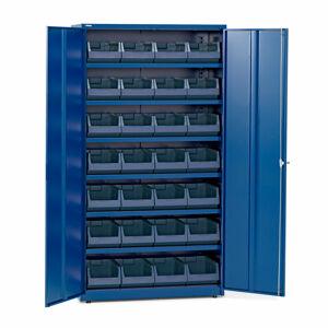 Dílenská skříň, 6 polic, 28 boxů, 1900x1020x500 mm, modrá