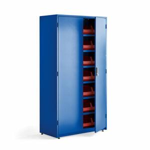 Dílenská skříň, elektronický zámek, 6 polic, 28 boxů, 1900x1020x500 mm, modrá
