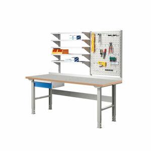 Dílenský stůl Solid 500, s policemi a panelem na nářadí, 2000x800 mm, vinylový povrch