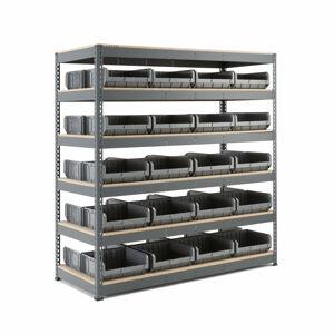 Regál Combo se 40 plastovými boxy, 1980x1840x775 mm, šedé boxy