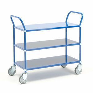 Kovový policový vozík, 3 police, modrý