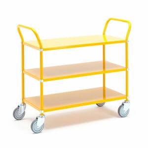 Kovový policový vozík, 3 police, žlutý