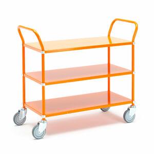 Kovový policový vozík, 3 police, oranžový