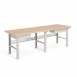 Dílenský stůl Robust, 2500x800 mm, 2 zásuvky