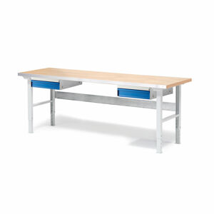 Dílenský stůl Solid 500, 2000x800 mm, 2 zásuvky, dubový povrch