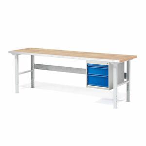 Dílenský stůl Solid 500, 2000x800 mm, 3 zásuvky, dubový povrch