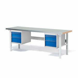 Dílenský stůl Solid 500, 2000x800 mm, 6 zásuvek, ocelový povrch