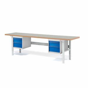 Dílenský stůl Solid 500, 2500x800 mm, 6 zásuvek, vinylový povrch