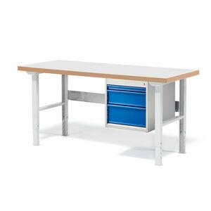 Dílenský stůl Solid 500, 1500x800 mm, 3 zásuvky, laminát