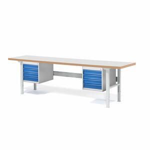 Dílenský stůl Solid 500, 2500x800 mm, 8 zásuvek, laminát