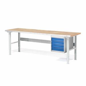 Dílenský stůl Solid 750, 2000x800 mm, 4 zásuvky, dubový povrch