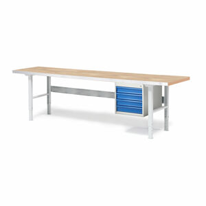 Dílenský stůl Solid 750, 2500x800 mm, 4 zásuvky, dubový povrch