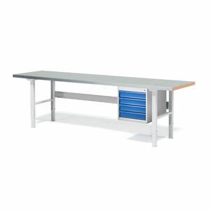 Dílenský stůl Solid 750, 2500x800 mm, 4 zásuvky, ocelový povrch