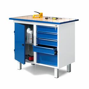 Dílenský pracovní stůl, pevné nohy, 1 skříňka, 5 zásuvek, 900x595x990 mm
