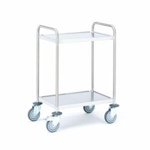 Policový nerezový vozík, 2 police, 600x400 mm