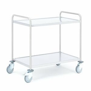 Policový nerezový vozík, 2 police, 900x550 mm