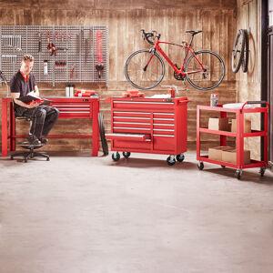 Dílenský stůl, 1515x700 mm, 3 zásuvky, červený
