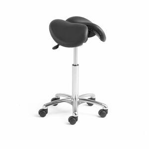 Sedlová židle Harrow, dělený sedák, V 560-760 mm, černá kůže