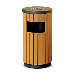 Venkovní odpadkový koš s popelníkem Murray, 33 l, imitace dřeva