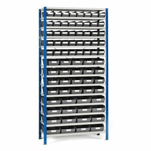 Regál se skladovými nádobami, 2100x1000x300 mm, šedé boxy
