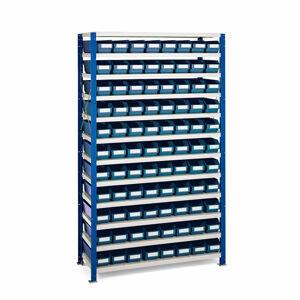 Regál se skladovými nádobami, 1740x1000x400 mm, modré boxy