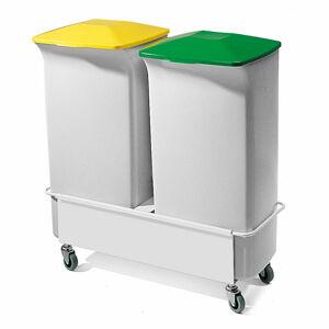 Set: 2x koš na tříděný odpad, 40 l + vozík