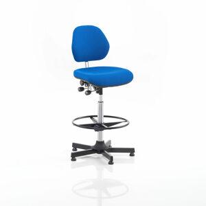 Pracovní židle Augusta, 650-900 mm, opěrný kruh, textilní potah, modrá