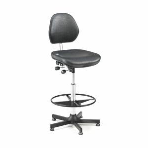 Pracovní židle Augusta, 650-900 mm, opěrný kruh, koženka, černá