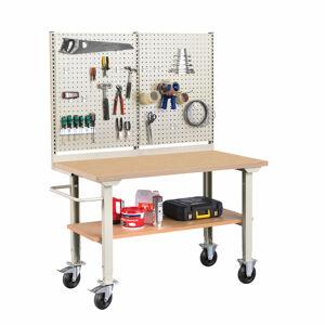 Mobilní dílenský stůl Robust, s panelem na nářadí, 1500x800 mm, tvrzená deska