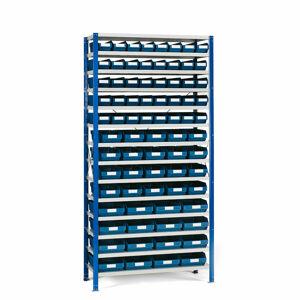 Regál se skladovými nádobami, 2100x1000x400 mm, modré boxy