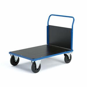 Plošinový vozík Transfer, 1 čelní dřevěná stěna, 1000x700 mm, gumová kola, s brzdami
