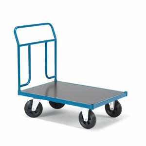 Plošinový vozík Transfer, 1 čelní trubkový rám, 1000x700 mm, gumová kola, bez brzd