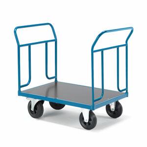 Plošinový vozík Transfer, 2 čelní trubkové rámy, 1000x700 mm, gumová kola, s brzdami