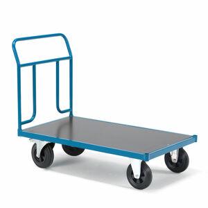 Plošinový vozík Transfer, 1 čelní trubkový rám, 1200x800 mm, gumová kola, s brzdami