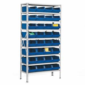 Regál s 32 plastovými boxy, 1970x1000x400 mm, modré boxy