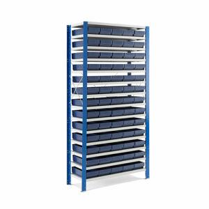 Kovový regál s 65 plastovými boxy, 2100x1000x500 mm, modré boxy