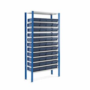 Kovový regál s 44 plastovými boxy, 2100x1000x600 mm, modré boxy