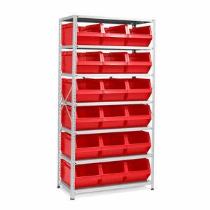 Regál s 18 plastovými boxy, 1970x1000x500 mm, červené boxy