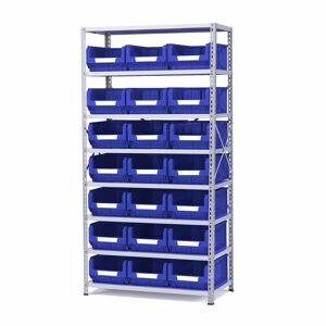 Regál s 21 plastovými boxy, 1970x1000x500 mm, modré boxy